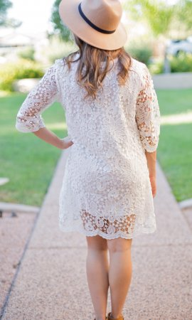 Sacred Threads Callie Victorian Vintage Lace Dress Off White Top