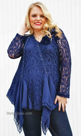 Samantha PLUS SIZE Tunic In Blue