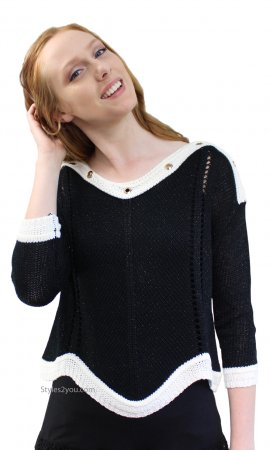 Nautica Open Cable Knit Sweater With Grommets In Black & Cream