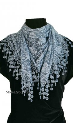 Scandal Clothing Ladies Victorian Vintage Lace Scarf Wrap Blue