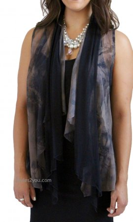 Gail Vest Cardigan In Black & Gray