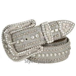 bb simon Silver Merry Leather Belt With Swarovski Crystals