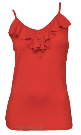 Bebop Ladies Ruffle Neckline Undershirt Cami Top In Coral