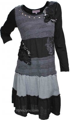 Aubrey Ladies Vintage Sweater Dress In Black & Gray Pretty Angel