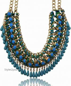 Beaded Collar Necklace In Dark Turquoise