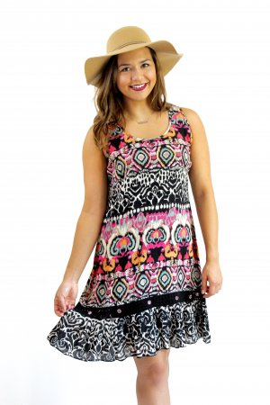 Posh Ladies Festive Hippy Bohemian Dress Black Bila Tank Dress