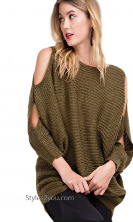 Judith Dolman Sleeve Oversized Chunky Knit Sweater In Olive