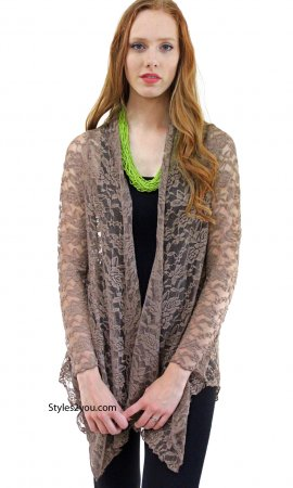 Harmony Vintage Lace Open Cardigan In Brown