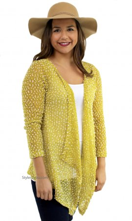 Liam Ladies Lightweight Knit Sweater Cardigan Bolero In Yellow