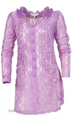 Christina Vintage Victorian All Lace Tunic Dress In Lavender