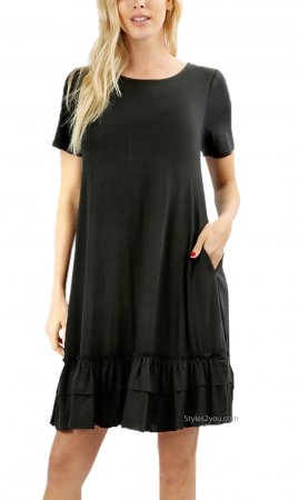 Salena PLUS SIZE Short Sleeve Ruffle Hem Dress With Pocket Black