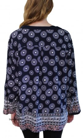 Cruder Ladies Curvy Size Bohemian Blouse In Navy