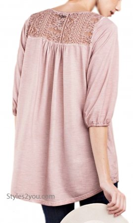 Saint Crochet Lace 1/2 Sleeve Soft Knit Tunic In Washed Mauve