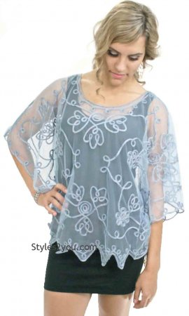 Reina Lace Top In Blue