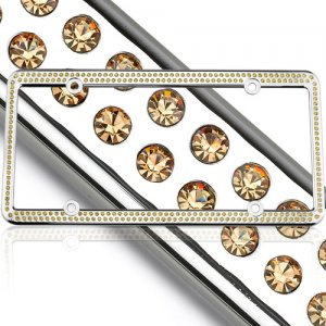 Yellow Swarovski Crystal License Plate Frame