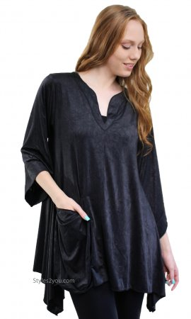 Kara Shirt Dress With Pocket In Missy & Curvy Sizes In Black