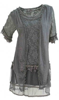Emma Retro Layered Lace Vintage Victorian Blouse Gray