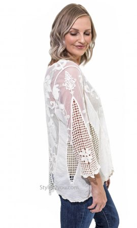 Keely Victorian 3/4 Sleeve Crochet & Lace Overshirt Cream-Beige