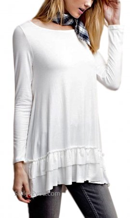 Celian PLUS SIZE Double Ruffle Tunic OR Extender White Easel