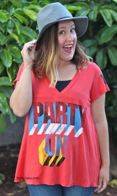 Party On Women's T Shirt In Red