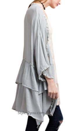 Idaho Long Open Cardigan Half Sleeves In Blue Gray Easel Clothes