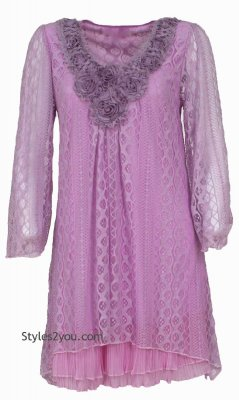 Claire Victorian Vintage Lace Shirt Dress Lavender Pretty Angel