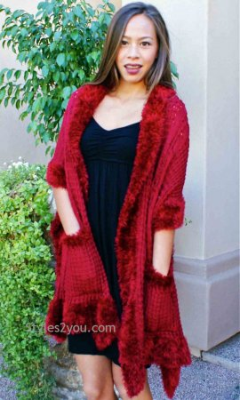 Sally Ladies Sweater Pocket Shawl Burgundy Pretty Angel Clothing