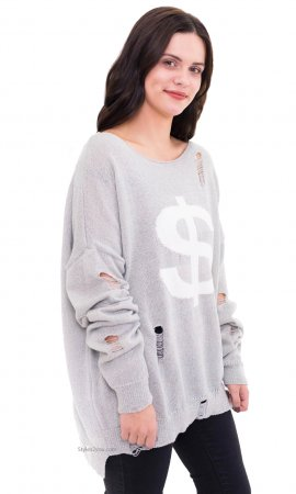 Dollar Long Sleeve Oversize Distressed Knit Sweater In Gray
