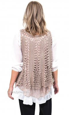 Jayden Sleeveless Layered Crochet & Lace Vest In Mushroom
