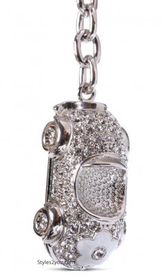 Flower Power Car Swarovski Crystal Car Keychain In White
