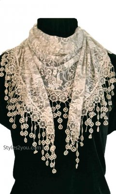 Vintage Lace Scarf Wrap In Taupe