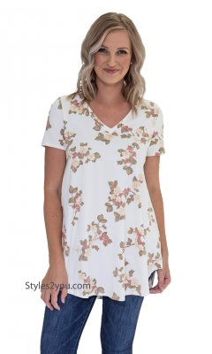 Somerset Honeyme Short Sleeve V-Neck Hi Low Hem Flower Tunic