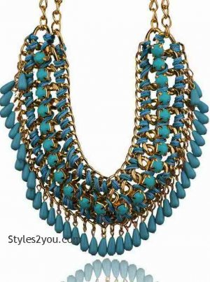 Beaded Collar Necklace In Turquoise