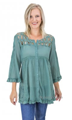 Whidbey Adjustable Bust Button Up Crochet Corset Top In Teal