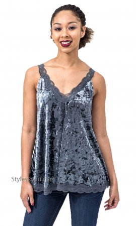 Harlow Flowy Lace & Crushed Velvet Camisole Top In Blue