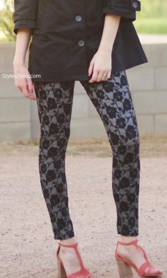 Louisa Faux Lace Legging In Black & White Pretty Angel Clothing