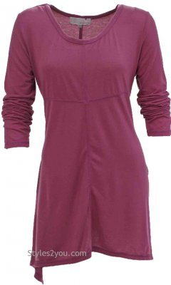 Betsy Ladies Bohemian Shirt Dress In Burgundy