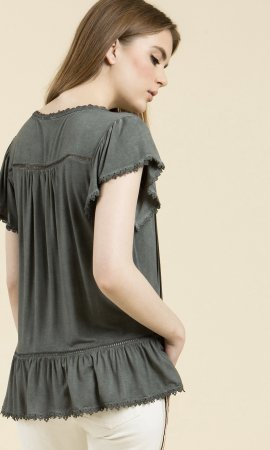 Kid Pol Short Sleeve Vintage Reproduction Top In Charcoal