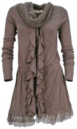 Gloria Knit Cardigan Shirt Dress With Scarf In Light Brown