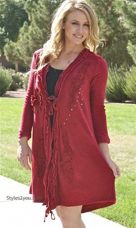 Paulette Ladies Victorian Sweater Duster Cardigan In Red