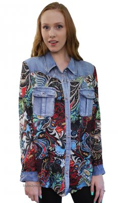 Elaine Ladies Denim & Print Button Up Jean Shirt In PLUS SIZE