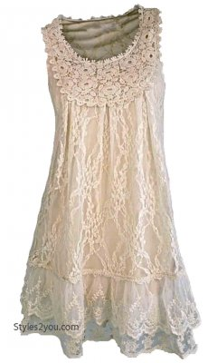 Anita Vintage Victorian Antique Lace Tunic In Caramel