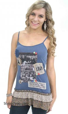 Blue Woodstock Photos Tunic