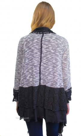 Rayna Ladies Retro Victorian Vintage Lace Cardigan Black & Gray