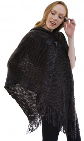 Corbin Soft Sweater Knit Poncho With Hoody In Coffee