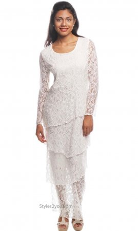 Bliss Long Sleeve Tiered All Lace Maxi Dress Wedding Dress Ivory