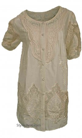 MiMi Short Sleeve Button Down Embroidered Shirt Dress In Carmel
