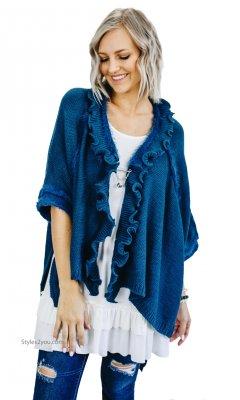 6ca11569486aee Oili Hi Low Short Sleeve Retro Sweater Cardigan Teal Shana K Top