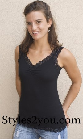 Necessitees Apparel Black Lace Undershirt Cami
