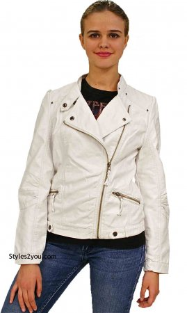 Elsie Faux Leather Bomer Jacket In White